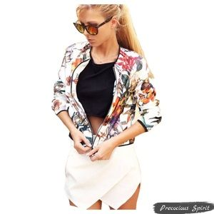 Jackets & Blazers - Multicolor floral white zip cardigan bomber jacket